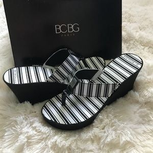 BCBG wedge flip flops